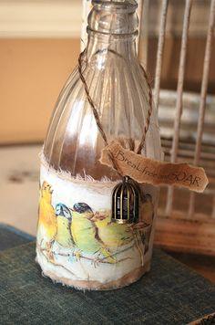 Posted in Altered Art, altered bottles, papercraft, repurposed junk… Altered Bottles, Vintage Bottles, Recycled Bottles, Bottles And Jars, Glass Jars, Wine Glass Crafts, Wine Bottle Crafts, Jar Crafts, Bottle Art