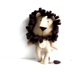 """Löwe Spielzeug gefüllte Löwe Rag Puppe Stofftier Stofftier Löwe Plushie Löwe Softie Tier handgemachte Stofftier braun 30 cm 11,8 """""""