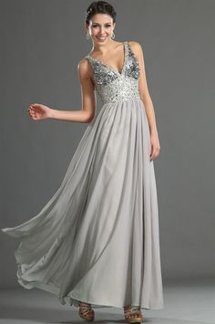 osell wholesale dropship Chiffon Beading V Neck Sleeveless Floor Length A Line Evening Prom Dresses $118.85