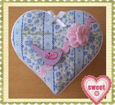 Caixinha coração passarinho lilas