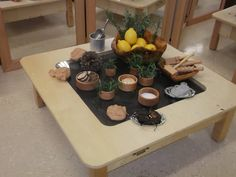 Invitation to explore scent with play dough, rosemary cinnamon sticks and lemons...