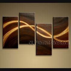 Beautiful Modern Textured Painted Wall Art Oil Painting On Canvas For Living Room Abstract. This 4 panels canvas wall art is hand painted by D.Lee, instock - $155. To see more, visit OilPaintingShops.com