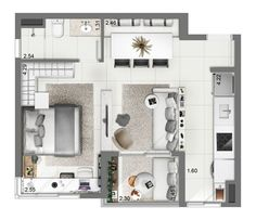 Move bed closer to long wall, build foot of the bed wall to just fit bed - build-in nooks for phone/laptop/books and remove closet; no patio so move couch closer to wall; move entrance to other side. Apartment Layout, Apartment Plans, Tiny Spaces, Small Apartments, Small House Plans, House Floor Plans, Floor Plan Layout, 3d Home, Sims House