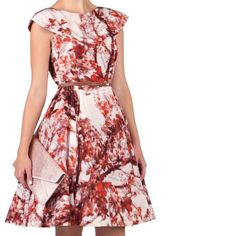 Ted Baker Rare Cherry Blossom Barish Silk Dress Lovely printed full skirt dress A chic dress in Ted Baker's cherry blossom print Boat neckline with fold detail Full skirt with pleats and belt included Colour: red/cream Composition: 100% silk Lining: 100% polyester Trim: 100% nylon Care: dry clean only.                                                 I have this in a Ted Baker size 2 and 3. They are new but some tags may be marked out to prevent returns. Ted Baker Dresses Mini