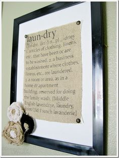 Burlap Laundry Sign - How To Print Directly on Fabric with Freezer Paper Tutorial, Shabby Chic Craft Burlap Projects, Burlap Crafts, Diy And Crafts, Craft Projects, Craft Ideas, Burlap Art, Framed Burlap, Decor Ideas, Diy Ideas