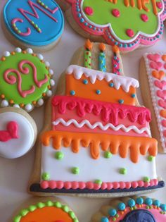 Love the bright colors of these birthday cookies!