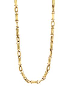 Gold Chain Necklace/Bracelet Combination, Helen Woodhull  22 kt., composed of hammered gold barrel-shaped links joined by oval links, signed H. Woodhull 1971 Sold $5625