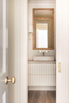 Home Decor Bathroom Simple powder bath with gold accents.Home Decor Bathroom Simple powder bath with gold accents Bad Inspiration, Bathroom Inspiration, Bathroom Ideas, Beautiful Bathrooms, Modern Bathroom, Vanity Bathroom, Bathroom Plumbing, Closet Vanity, Neutral Bathroom