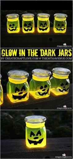 Halloween - These Glow Stick Pumpkin Jars will be the talk of the neighborhood on Halloween night! via createcraftlove.com for the36thavenue.com