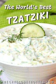 This homemade tzatziki sauce is perfect for gyros, with pita bread as a dip, or in wraps. Tzatziki Sauce Recipe Greek Yogurt, Salsa Tzatziki, Homemade Tzatziki Sauce, Tzatziki Recipes, Greek Yogurt Recipes, Cucumber Recipes, Authentic Tzatziki Sauce Recipe, Greek Yogurt Dips, Tzatziki Salad Dressing Recipe