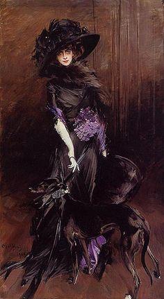 Giovanni Boldini: Portrait of the Marchesa Luisa Casati with a Greyhound: 1908