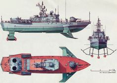 """Soviet Army hydrofoils: from Floating Tanks to """"Flying Submarine"""" Destroyers    This Soviet military hydrofoil boat was used in the 1970s:"""