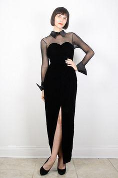 Vintage Velvet Dress Black Dress Maxi Dress by ShopTwitchVintage