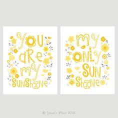 Yellow and Grey You Are My Sunshine Print Set Kids Wall Art 8x10- Flowers and birds matches MIGI Sweet Sunshine Nursery Bedding