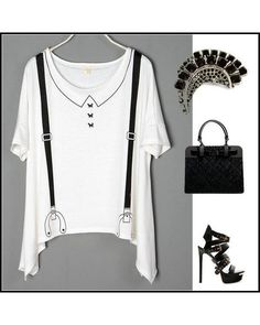 White Asymetric T-shirt with Suspender Print