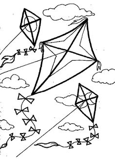 Kite Flies Against Wind Coloring Pages For Kids Printable Kites