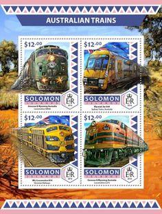 SLM16515a Australian trains (Genesee & Wyoming Australia Locomotive GM46; Waratah Set A44 Sydney Trains, Australia; ML2 Locomotive B74, Victorian Railways; Genesee & Wyoming Australia Locomotive CLF5)