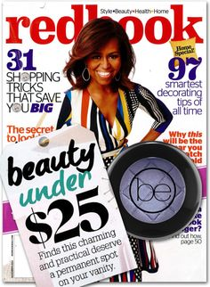 Excited to see our Color Impact Eyeshadow, in Wisteria, was mentioned inside Redbooks' October edition-15 Gorgeous Beauty Buys Under $25!  We have highlighted the mentioned eyeshadow with the magazine cover and article title. #beauticontrol