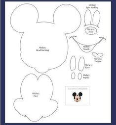 Moldes - Minnie e Mickey Mouse Bolo Do Mickey Mouse, Mickey Mouse Template, Mickey Mouse Crafts, Minnie Mouse Bow, Disney Crafts, Theme Mickey, Mickey Party, Mickey Mouse Birthday, Scrapbook Da Disney