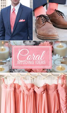 Coral wedding ideas. Dress up the groomsmen in coral dress socks that match the coral bridesmaid dresses. Socks are the perfect wedding favor or gift for the bridal party.