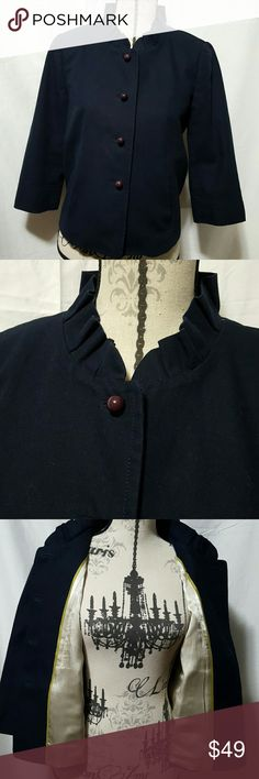 🍒NWOT J.CREW  Canvas Atelier Jacket NWOT J.CREW Atelier Jacket, navy blue, 4 button closure, copper & pea green lining, 2 front pockets, pleat down the back, 100% cotton, dry clean only.  Length 21', sleeves 17'.   ❤No signs of wear❤ Please ask any and all questions before purchasing this item J. Crew Jackets & Coats Blazers