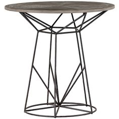Justus Industrial Wire Frame Oak Bistro Table ($748) ❤ liked on Polyvore featuring home, furniture, tables and dining tables