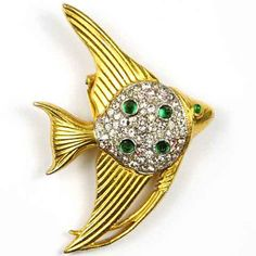 Trifari Alfred Philippe Gold Pave Emerald Cabochon Angelfish Scatter Pin Clip | eBay