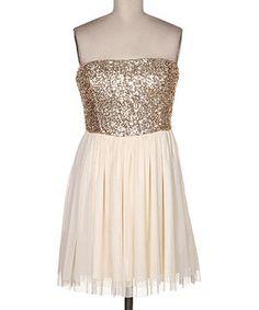 Love this Fashionomics Gold & White Sparkle Strapless Dress by Fashionomics on #zulily! #zulilyfinds