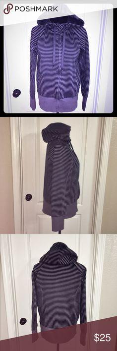 Gap Medium-Weight Zip-down Hoodie EUC 💜💙 Smoky purple & Navy blue striped Hoodie. Excellent Used Condition- no stains or tears. Medium weight material. Zip-down w/ drawstring hood. 💙💜 GAP Tops Sweatshirts & Hoodies