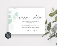 Wedding Change of Plans, Simple Wedding Date Postpone, Editable Wedding Postpone, Change of Plans Modern, Greenery Postpone Announcement Bachelorette Party Invitations, Bridal Shower Invitations, Electronic Save The Date, Wedding Templates, Digital Invitations, Simple Weddings, Announcement, Greenery, Stationery