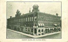Postcard Bank in Nisbett Block, Big Rapids Michigan