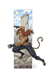 """Cheetah"" commissioned by Kenn Hensley. Character belongs to DC Comics. Cheetah Dc Comics, Women Villains, Dc Comics Characters, Dc Heroes, Marvel Art, Comic Artist, Comic Books Art, Book Art, Comic Character"