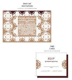 Dapper Wedding Invitations & RSVP Cards by honey-paper.com #weddinginvitations #wedding #aviedesigns #papercut