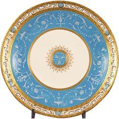 13 Antique Minton Pâte-sur-Pâte Turquoise Plates $15,000