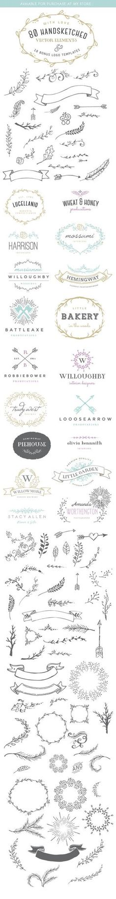 80 Handsketched Vector Elements and Logo templates on Behance