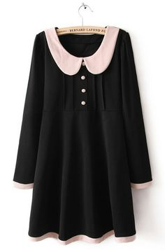 Black Lapel Long Sleeve Dress. Reminds me of Wednesday Addams