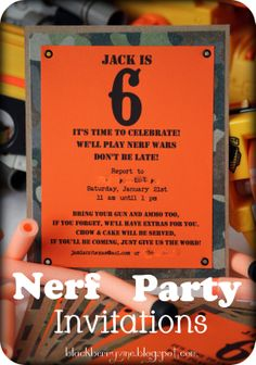 Nerf Party Invitations Template Blue Camo Nerf Birthday Party - Party invitation template: nerf war party invitation template