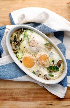 baked eggs with brussels sprouts & mushrooms // brooklyn supper