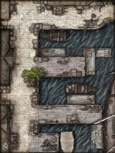 RPG map of Urban docks on a coastal river. Dark Fantasy, Fantasy City, Fantasy Map, Medieval Fantasy, Les Gobelins, Pathfinder Maps, Rpg Map, Building Map, Map Layout