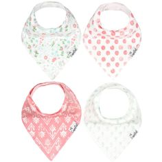 Copper Pearl Claire Baby Girl Bandana Bibs - 4 Pack