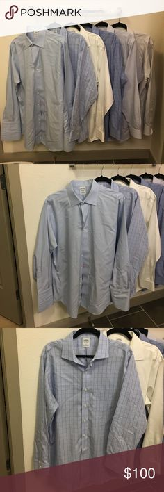 Brooks Brothers men's dress shirts (6)! 17-34 slim Brooks brothers men's slim fit dress shirts in a 17 neck, 34 arm. All shirts are slim fit and have standard cuffs, and a standard collar. The blue one at the front in the group picture is a French cuff. Shirts no longer fit me and are all about 3.5 years old. The blue French cuffed shirt is in the best shape (I never wore it because I don't like French cuffs) while the white one has a lot of life left, but needs a good dry cleaning. Looking…
