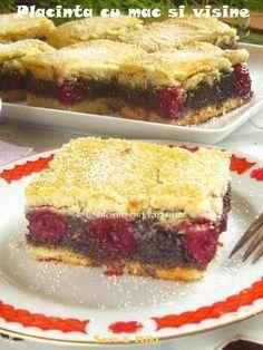 placinta-cu-mac-si-visine-2 Romanian Desserts, Romanian Food, Strudel, Delicious Desserts, Cake Recipes, Sandwiches, Bakery, Sweet Treats, Sweets