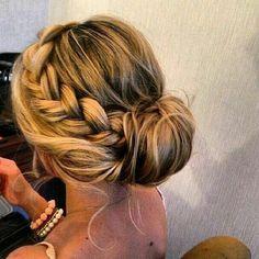 bun with a side braid