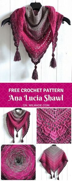 Free crochet pattern of the Ana Lucia Shawl can be found on Wilmade.com including a video tutorial. Easy pattern to follow, also for beginners! #triangle #shawl #crochet #pattern #tassels