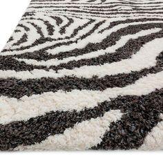 Plush Zebra Print Microfiber Rug
