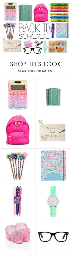 """Back to School Supplies"" by shoenique ❤ liked on Polyvore featuring interior, interiors, interior design, home, home decor, interior decorating, Moschino, Kate Spade, Lilly Pulitzer and Sharpie"
