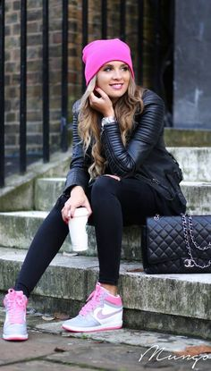 #street #style / leather + pink