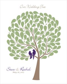 Wedding Guest Book Alternative Signature Tree poster, Personalized wedding gift, sage green, eggplant purple or custom, size 16x20. $45.00, via Etsy.