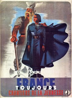 Affiches Politiques 1939-1945 - Abrupt - Chantiers De La Jeunesse France Touj