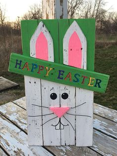 Reclaimed Pallet Wood Happy Easter Bunny Sign